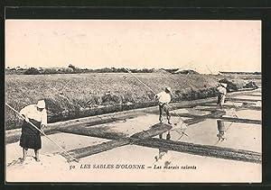 Ansichtskarte Les Sables-d'Olonne, Les marais salants, Arbeiter