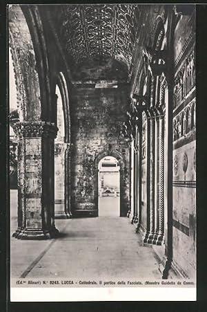 Cartolina Lucca, Cattedrale, Il portico della Facciata