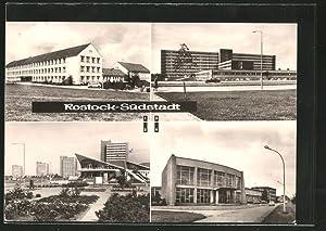 """Ansichtskarte Rostock-Südstadt, Juri-Gagarin-Schule, An der """"Kosmos"""" Gaststätte,"""