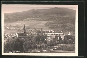 Ansichtskarte Kratzau, Teilansicht mit Kirche