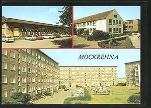 Ansichtskarte Mockrehna, Konsum-Einkaufszentrum, Georg-Schumann-Oberschule, Neubauten