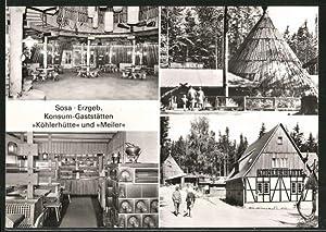 """Ansichtskarte Sosa, Konsum-Gaststätten """"Köhlerhütte"""" und """"Meiler"""""""