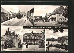 Ansichtskarte Dommitzsch, Kino CT-Lichtspiele, Polytechnische Oberschule, Rathaus