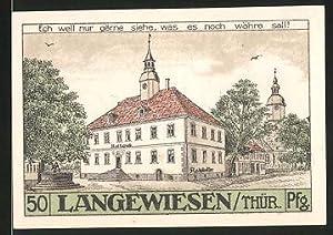 Notgeld Langewiesen 1921, 50 Pfennig, Rathaus mit