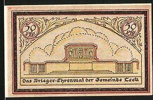 Notgeld Leck, 50 Pfennig, Krieger Ehrenmal, Ortsansicht