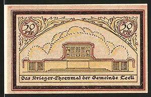 Notgeld Leck, 50 Pfennig, Krieger Ehrenmal, Ortsrand