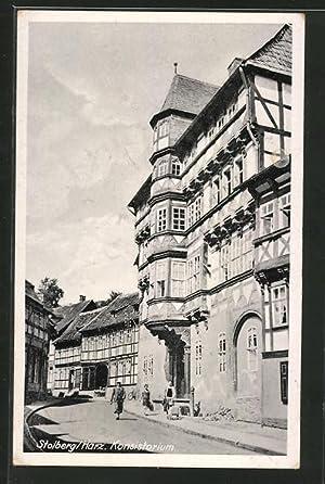 Ansichtskarte Stolberg, Strassenpartie am Konsistorium
