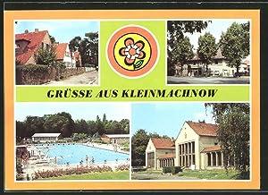 Ansichtskarte Kleinmachnow, Leninallee, Kammer-Lichtspiele und Freibad Kiebitzberge