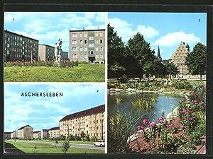 Ansichtskarte Aschersleben, Otto-Grotewohl-Strasse, Juri-Gagarin-Strasse, Blick zum Volkshaus