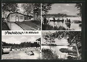"Ansichtskarte Sewekow, Konsum-Gaststätte ""Donnerberg"", Ausfahrt der Angler"