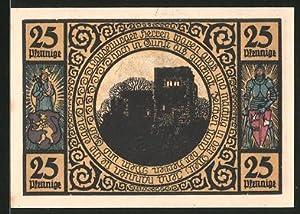 Notgeld Lobeda 1921, 25 Pfennig, Burgruine, Ritter,