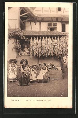 Ansichtskarte Hoerdt, Séchage du Tabac, Tabakblätter werden