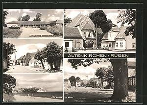 Ansichtskarte Altenkirchen, Konsum-Landwarenhaus, Kirche, Strasse des Friedens,
