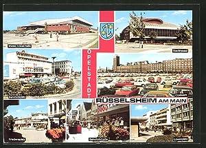 Ansichtskarte Rüsselsheim, Walter-Köbel-Halle, Bahnhofsplatz, Friedensplatz, Stadttheater, Opelwerk,