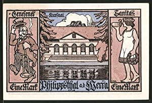 Notgeld Philippsthal 1921, 1 Mark, Kursaal, Sanitas,