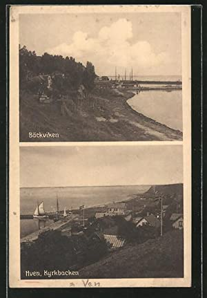 Ansichtskarte Hven, Bäckviken, Kyrkbacken, Segelboot