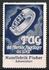 Reklamemarke Schweinfurt, FAG Kugellager, Kugelfabrik Fischer, Kugellager-Schnittdarstellung