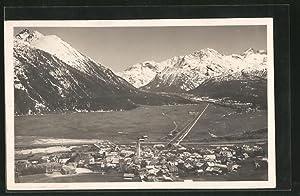 Ansichtskarte Samaden, Ortsansicht und verschneite Berge