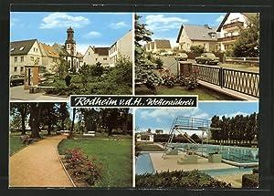 Ansichtskarte Rodheim, Kirchpartie, Strassenpartie, Parkpartie, Schwimmbad