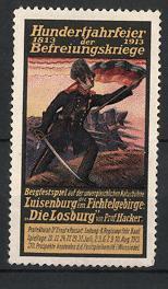 """Reklamemarke Luisenburg, Jahrhundertfeier Befreiungskriege 1913, Bergfestspiel """"Die"""