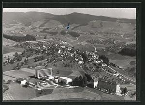 Ansichtskarte Menzingen, Ortsansicht mit Seminar, Pensionat, Flugaufnahme
