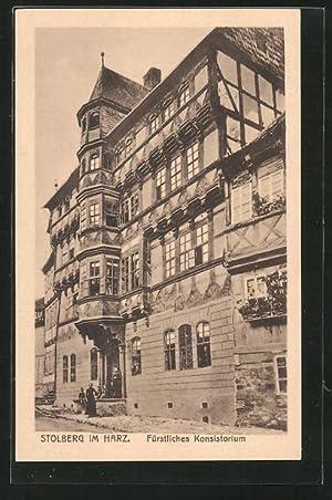Ansichtskarte Stolberg, Strassenpartie am fürstlichen Konsistorium