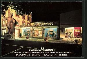 Cartolina Ortisei, Conrad Moroder, Holzschnitzereien