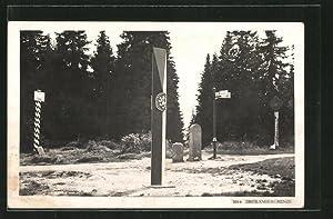Ansichtskarte Grenzsteine an der Dreiländergrenze