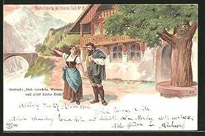 Lithographie Schiller's Wilhelm Tell No. 2, Gertrud