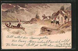 Lithographie Schiller's Wilhelm Tell No. 1, Rettung