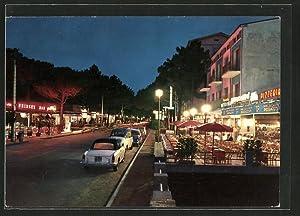 Cartolina Milano Marittima, di notte, Viale Matteotti
