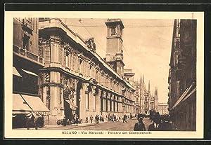Cartolina Milano, Via Mercanti, Palazzo dei Giureconsulti