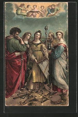 Künstler-Ansichtskarte Raphael Santi: Heilige Caecilie