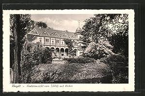 Ansichtskarte Rheydt, Hinteransicht vom Schloss mit Weiher