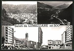 Cartolina Lumezzane, Panoramaansicht, Ortsansicht bei Nacht, Kirchpartie,