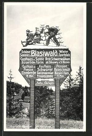 Ansichtskarte Wegweiser nach Blaiswald mit Holzschnitzereien