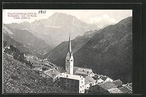 Cartolina Pieve di Livinallongo, Kirchpartie mit Blick