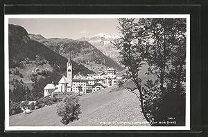 Cartolina Pieve di Livinallongo, col Boé, Kirchpartie