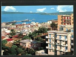 Cartolina Reggio Calabria, Teilansicht mit Hafen