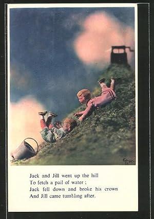 "Künstler-Ansichtskarte Szene mit Puppen: ""Jack and Jill"