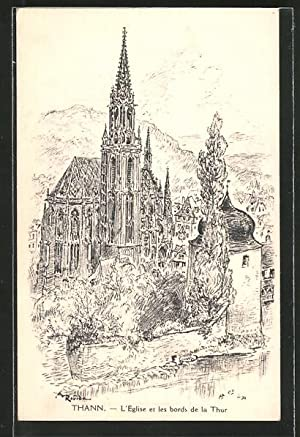 Künstler-Ansichtskarte Albert Robida: Thann, L' Eglise et