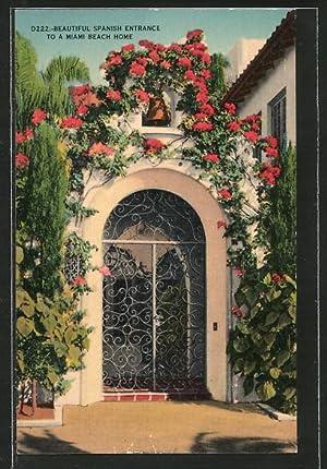 Postcard Miami Beach, FL, Beautiful Spanish Entrance