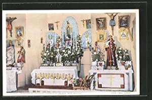 Postcard Isleta, NM, Interior of the Church