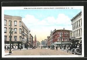 Postcard Gloversville, NY, Main and Fulton Streets,