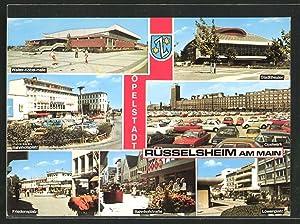 Ansichtskarte Rüsselsheim, Opelwerk, Walter Köbel-Halle, Stadttheater, Wappen