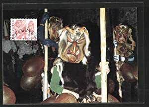 Maximum-Ansichtskarte Volksbräuche, Achetringele Laupen, Umzug mit Holzmasken