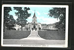 Postcard Lemont, IL, St. Mary's Church and