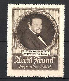 Reklamemarke Aecht Franck Kaffee, Portrait K. F.H.