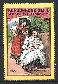 Reklamemarke Offenbach, Konkurrenz-Seife M. Kappus, Trachtenmädchen aus