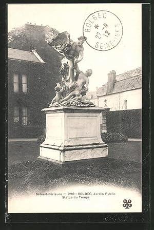 Carte postale Bolbec, jardin public, statue du